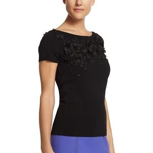 WHBM Black Sweater w/ Flowers and Beads